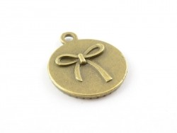 1 round bronze-coloured pendant with a cabochon base and a bow - 22 mm