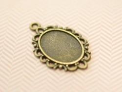 1 breloque support pour cabochon bronze fantaisie ovale - 17 x 13 mm