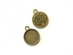 1 breloque support pour cabochon bronze rond à motif arbre - 14 mm