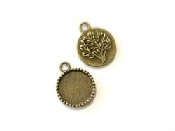 1 round bronze-coloured pendant with a cabochon base and a tree - 17 mm