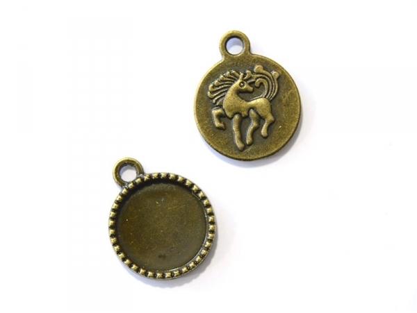 1 breloque support pour cabochon bronze rond à motif licorne - 14 mm