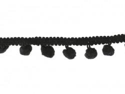 1 m lange Borte mit kleinen Bommeln - schwarz (Farbnr. 014)