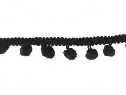 1m galon de petits pompons - noir 014