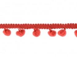 1 m lange Borte mit kleinen Bommeln - rot (Farbnr. 008)