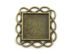 1 square, bronze-coloured cabochon blank with a twisted edge - 33 mm