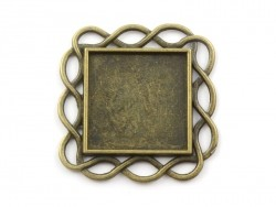 1 broche support de cabochon bronze carré à bordure en torsades - 33 mm