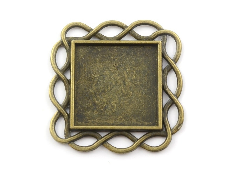 1 support de cabochon bronze carré à bordure en torsades - 20 mm  - 1