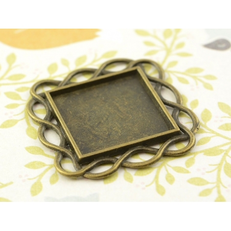 1 support de cabochon bronze carré à bordure en torsades - 20 mm  - 2