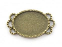1 broche support de cabochon bronze rond à bordure feuilles - 33 mm