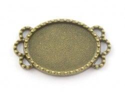 1 support de cabochon bronze ovale à bord fantaisie - 25 mm