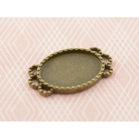 1 support de cabochon bronze ovale à bord fantaisie - 17 x 13 mm