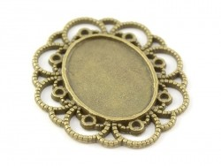 1 oval, bronze-coloured cabochon setting with a fancy edge - 41 mm