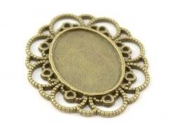 1 ovale, bronzefarbene Cabochonfassung mit verziertem Rand - 41 mm