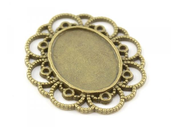 Acheter 1 support de cabochon bronze ovale à bord fantaisie - 30 mm - 1,39€ en ligne sur La Petite Epicerie - 100% Loisirs c...