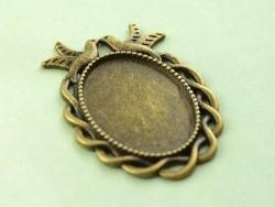 1 support de cabochon bronze ovale à bord fantaisie oiseau - 36 mm