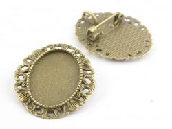 1 broche support de cabochon bronze rond à bordure fantaisie- 34 mm