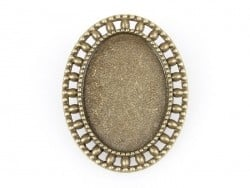 1 broche support de cabochon bronze ovale à bordure fantaisie - 33 mm