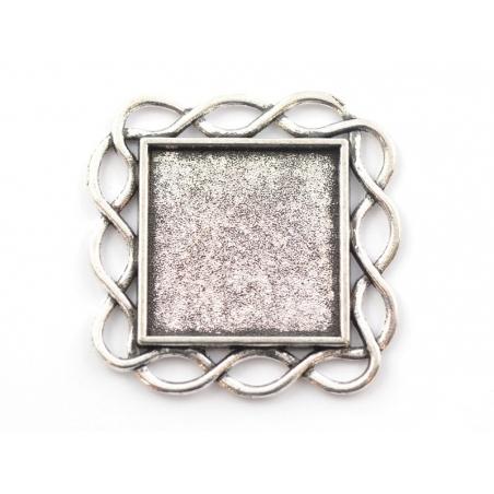 Acheter 1 support de cabochon argenté carré à bordure fantaisie - 33 mm - 0,69€ en ligne sur La Petite Epicerie - Loisirs cr...