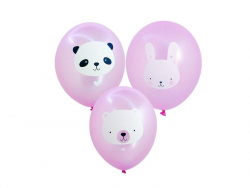 6 ballons - Baby animals pink