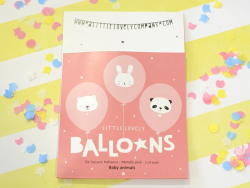 6 balloons - Pink baby animals
