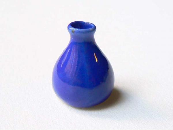 Vase bleu foncé miniature pour vitrines  - 3