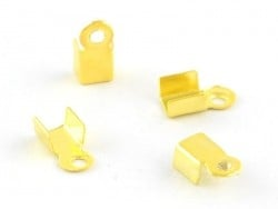 10 crimp end caps - Gold-coloured