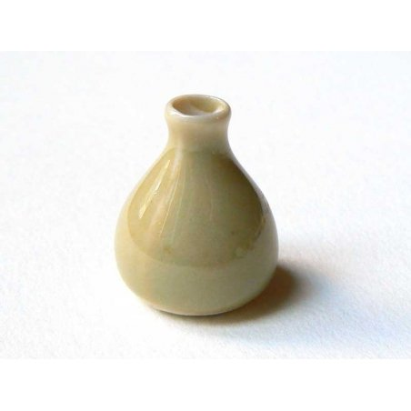 Vase beige miniature en céramique  - 3