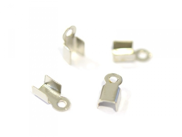 10 crimp end caps - Silver-coloured