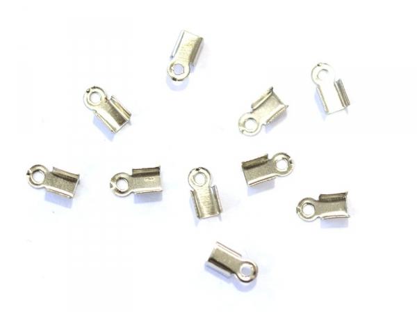 10 crimp end caps - Dark silver-coloured