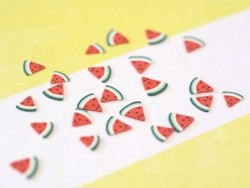 100 polymer clay cane slices - watermelon pieces