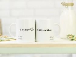 """Lot de 2 Mugs """"Ensemble c'est mieux"""""""