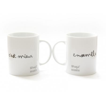"""Lot de 2 Mugs """"Ensemble c'est mieux"""" Mr Wonderful  - 3"""