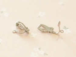 1 pair of clip-on earrings - silver-coloured