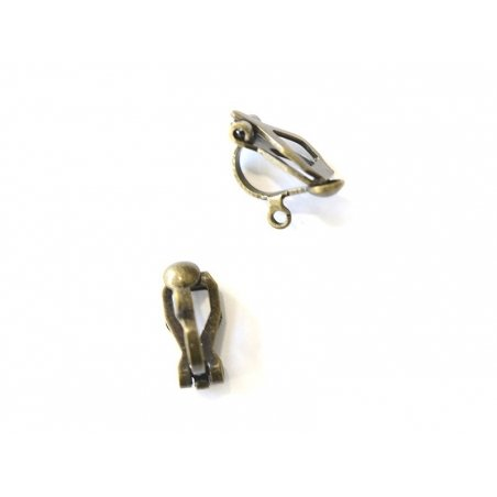 1 pair of clip-on earrings - bronze-coloured