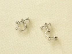 1 paire de boucles d'oreilles clip à vis - argenté foncé