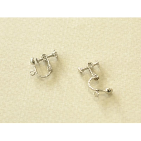 1 pair of clip-on earrings with a screw - dark silver-coloured