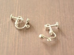 1 pair of clip-on earrings with a screw - silver-coloured