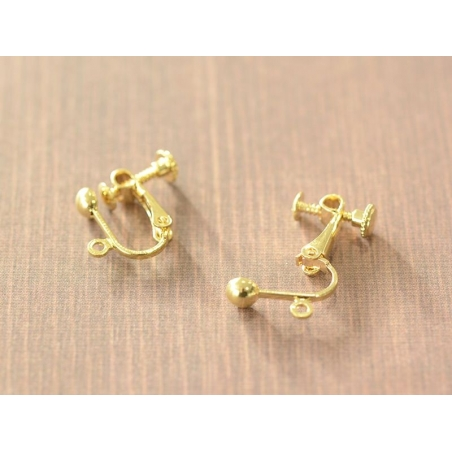 1 pair of clip-on earrings with a screw - gold-coloured