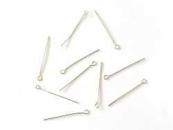10 light silver-coloured eye pins - 30 mm