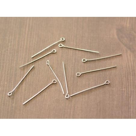 10 light silver-coloured eye pins - 30 mm