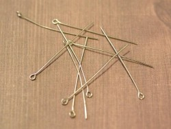 10 light silver-coloured eye pins - 40 mm