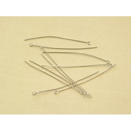 10 light silver-coloured eye pins - 70 mm