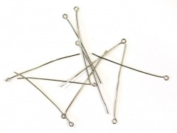 10 dark-silver-coloured eye pins - 50 mm