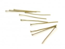 10 bronze-coloured, flat head pins - 30 mm