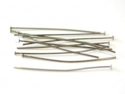 10 dark silver-coloured head pins - 50 mm