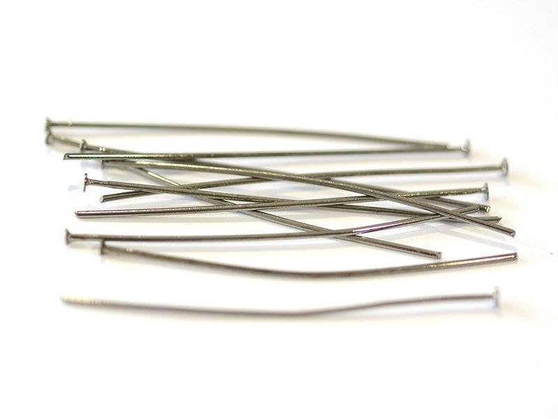 10 clous à tête plate argenté foncé - 50 mm