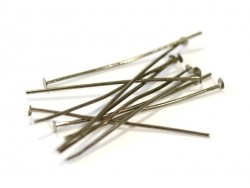 10 dark silver-coloured head pins - 40 mm