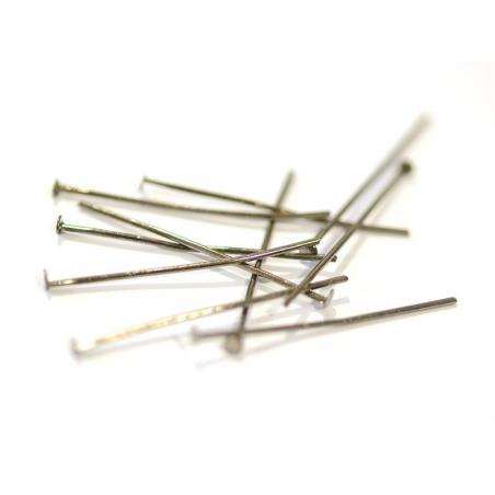 10 clous à tête plate argenté foncé - 30 mm