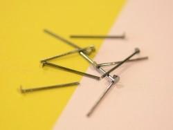 10 dark silver-coloured head pins - 20 mm