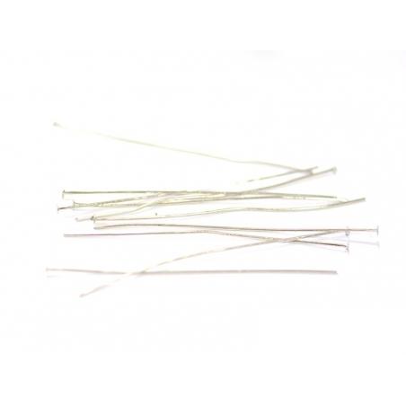 10 clous à tête plate argenté - 70 mm